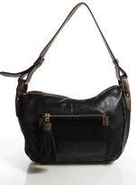 Perlina Black Brown Leather Zipper Top Adjustable Strap Shoulder Handbag