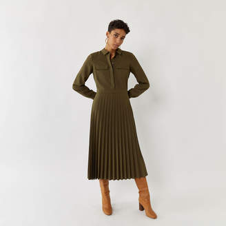 Warehouse PLEATED MIDI SHIRT DRESS