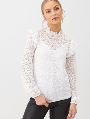 Very Lace Ruffle Shoulder Top - Ivory