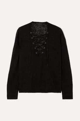 Nili Lotan Arabella Lace-up Linen Sweater - Black
