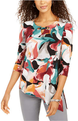 JM Collection Petite Printed Asymmetric Tunic Top