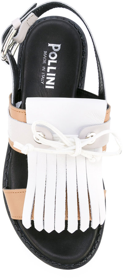 Pollini fringed slingback sandals