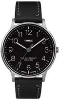 Timex R) Waterburty Leather Strap Watch, 40mm