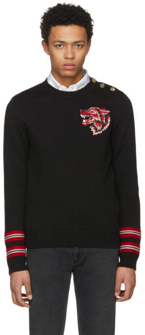 Gucci Black Wolf Patch Sweater