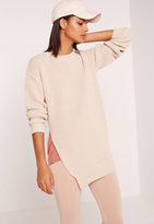 Missguided Side Split Crew Neck Sweater Camel