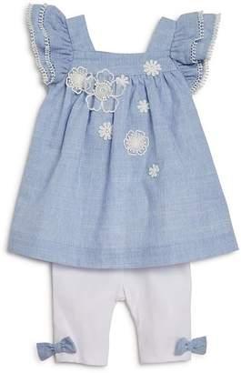 Miniclasix Girls' Ruffle Pinstripe Top & Capri Legging Set - Baby