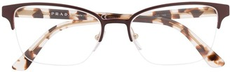 Prada Tortoiseshell Cat-Eye Frame Glasses