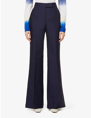 Gabriela Hearst Chavela flared high-rise recycled wool-blend trousers