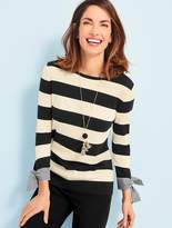Talbots Striped Crewneck with Gingham Cuff and Bow