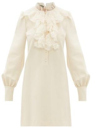 Gucci Lace-ruffled Cady Mini Dress - Womens - Ivory