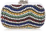 Corto Moltedo Susan C Star White Nappa Leather and Multicolor Stones Pochette w/Chain Strap