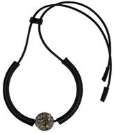 Marni Leather Cord Hematite Necklace