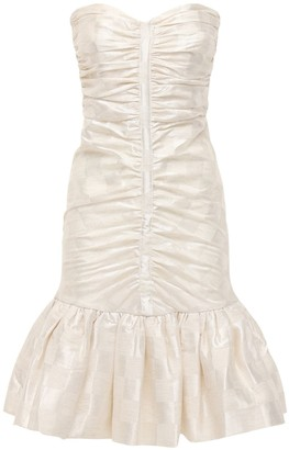Rotate by Birger Christensen Laila Ruched Jacquard Linen Blend Dress