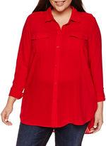 A.N.A a.n.a 3/4 Sleeve Button-Front Shirt-Plus