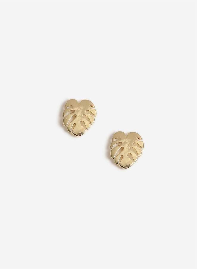 Miss Selfridge Gold Palm Leaf Stud Earrings