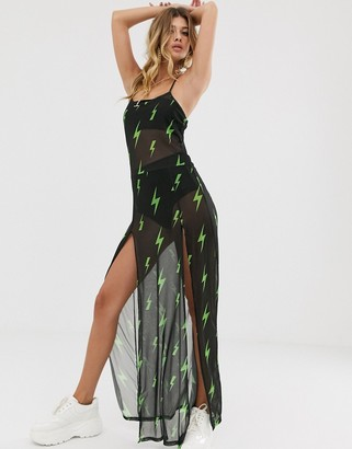 Rokoko mesh maxi dress with lightning bolt print