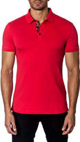 Jared Lang Semi-Fitted Short-Sleeve Cotton-Stretch Polo Shirt, Red