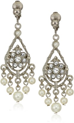 1928 Jewelry Women's Silver-Tone Crystal and Pearl Chandelier Drop Clip-on Earrings