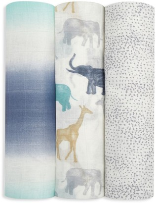 Aden Anais Baby Boy's 3-Pack Expedition Bamboo Swaddle Blanket