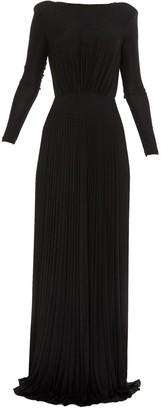 Elisabetta Franchi Pleated Open-Back Gown Dress