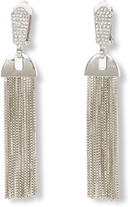 Vince Camuto Pave & Chain Tassel Clip-On Drop Earrings