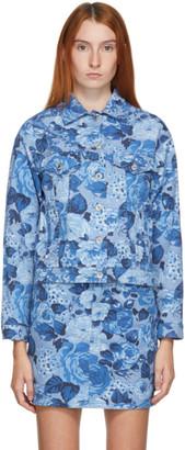 MSGM Blue Denim Floral Jacket
