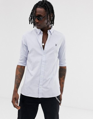 AllSaints short sleeve poplin shirt in light blue