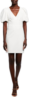 Parker Black Reilly Puff-Sleeve Mini Stretch Crepe Dress