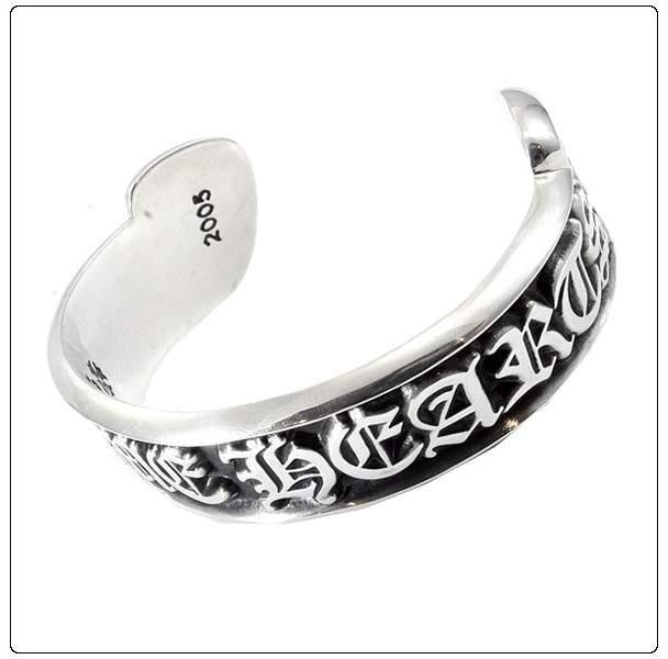 Chrome Hearts 925 Sterling Silver Scroll Label Bangle Bracelet