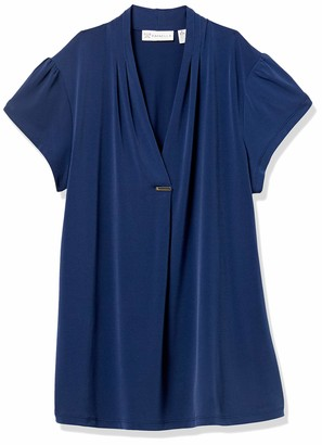 Rafaella Women's Solid Pleat Neck Cap Sleeve Shirt