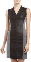 Muse Faux-Suede Panel Dress, Black/Gray