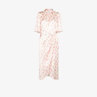 Les Rêveries Floral Silk Wrap Dress