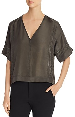 Go Silk Go By Go by Inset-Trim V-Neck Top