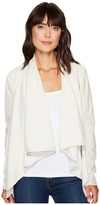 Blank NYC Beige Vegan Leather Sleeved Draped Jacket in Beige Women's Jacket