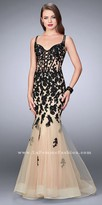 La Femme Enchanting Sheer Applique Open Back Mermaid Prom Dress