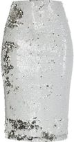 River Island Womens White sequin pencil skirt