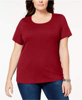 Karen Scott Plus Size Cotton Scoop-Neck T-Shirt, Created for Macy's