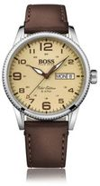 HUGO BOSS 1513332 Stainless Steel Leather Strap Pilot Edition Watch One Size Assorted-Pre-Pack