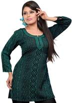 Maple Clothing India Kurti Tunic Top Womens Printed Blouse Indian Apparel (Green, M)