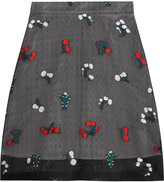 Markus Lupfer Cactus embroidered silk-blend organza skirt