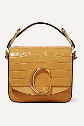 Chloé C Mini Smooth And Croc-effect Leather Shoulder Bag - Sand
