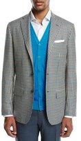 Kiton Two-Tone Check Cashmere Sport Coat, White/Black/Blue
