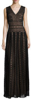 Tadashi Shoji Sleeveless Medallion Lace Column Dress, Black/Nude