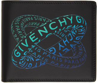 Givenchy Black and Blue Graphic Logo Bifold Wallet
