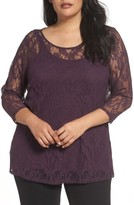 Sejour Plus Size Women's Lace Illusion Top