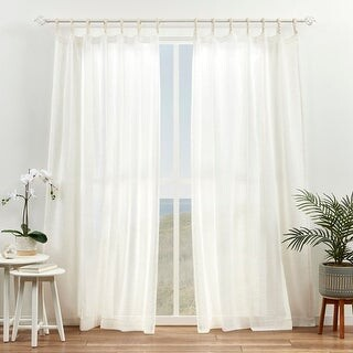 ATI Home Duncan Sheer Braided Tab Top Curtain Panel Pair
