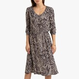 La Redoute Collections Ruffled Midi Dress in Floral Print with Long Sleeves