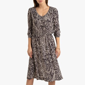 La Redoute Collections Ruffled Mid-Length Dress in Floral Print with Long Sleeves