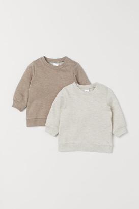 H&M 2-pack Cotton Sweatshirts - Beige