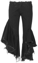 Marques Almeida Marques' Almeida - Ruffled Frayed Low-rise Flared Jeans - Black